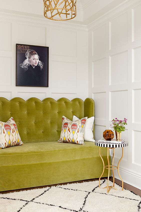 bench seating | living room sofa high back green scalloped tufted | Girlfriend is Better