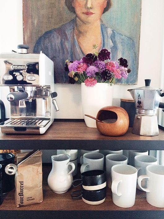home coffee station DIY | bar cart mugs portrait random person | Girlfriend is Better