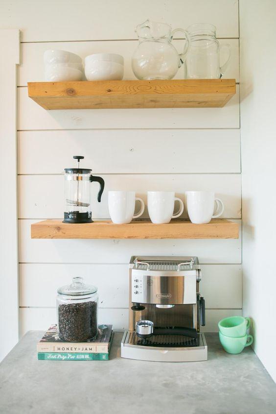 home coffee station DIY | kitchen corner open shelving | Girlfriend is Better