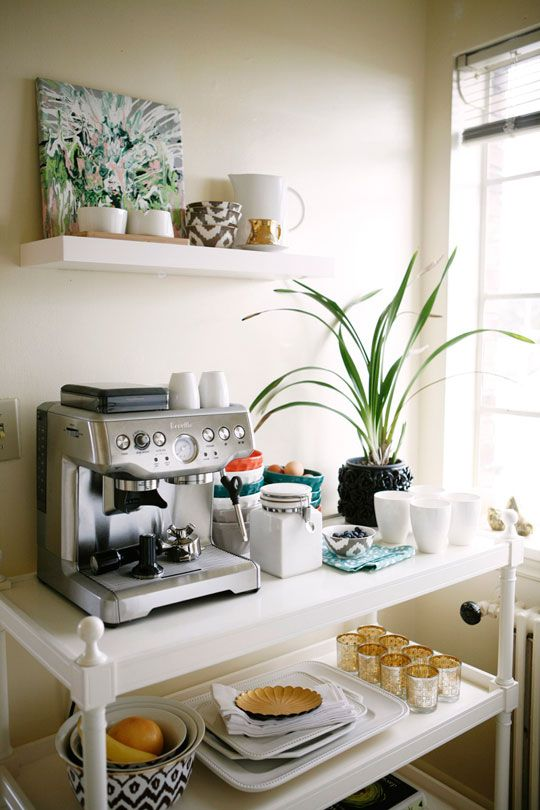 home coffee station DIY | bar cart organization space saver | Girlfriend is Better