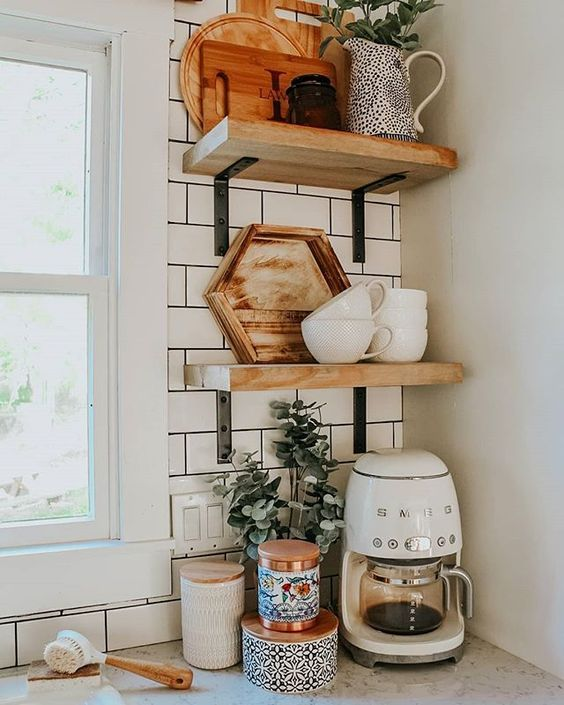 home coffee station DIY | open shelving Hygge kitchen corner | Girlfriend is Better