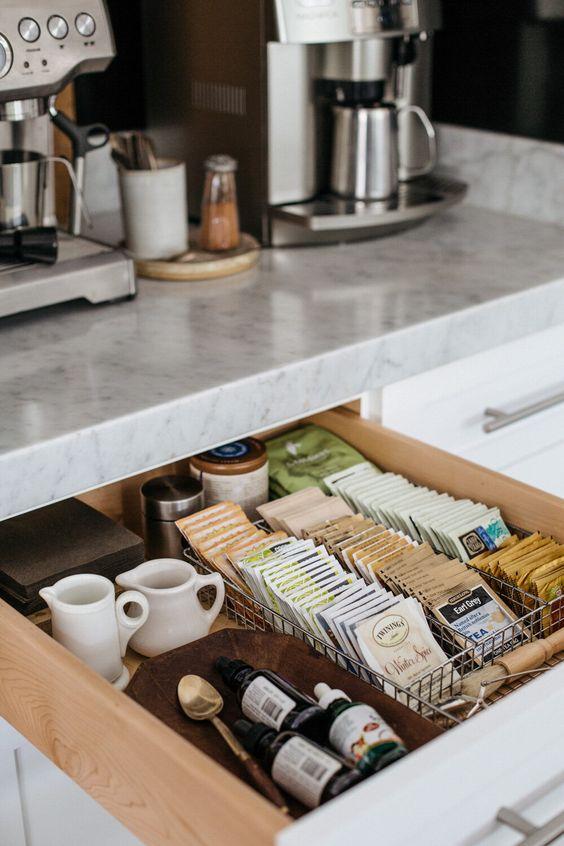 home coffee station DIY | tea accessories organization kitchen drawer | Girlfriend is Better