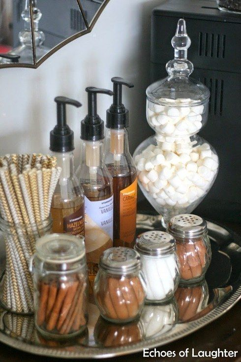home coffee station DIY | cinnamon nutmeg spices jars syrups steamers hot chocolate | Girlfriend is Better