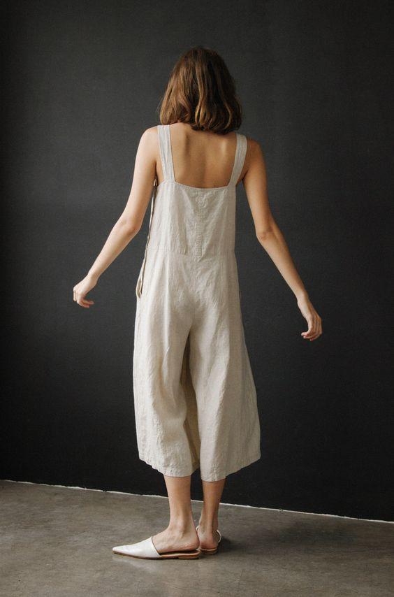 linen jumpsuits   tank strap culotte wide leg   Girlfriend is Better