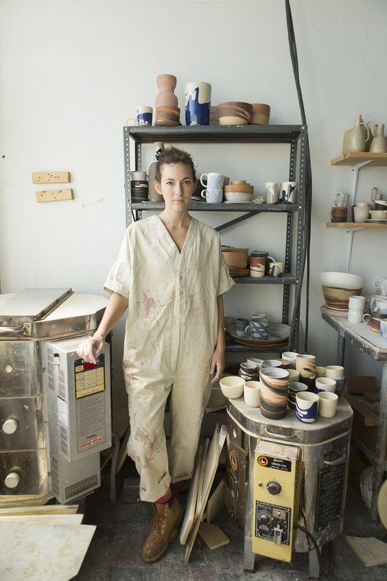 linen jumpsuits   workman style onesie durable craftsman pottery   Girlfriend is Better