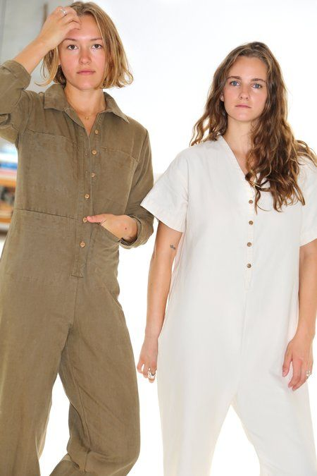 linen jumpsuits   coveralls button front workman style   Girlfriend is Better