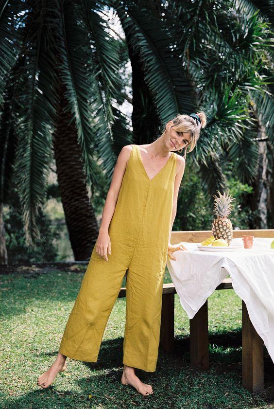 linen jumpsuits   French artisan tank sleeveless durable   Girlfriend is Better