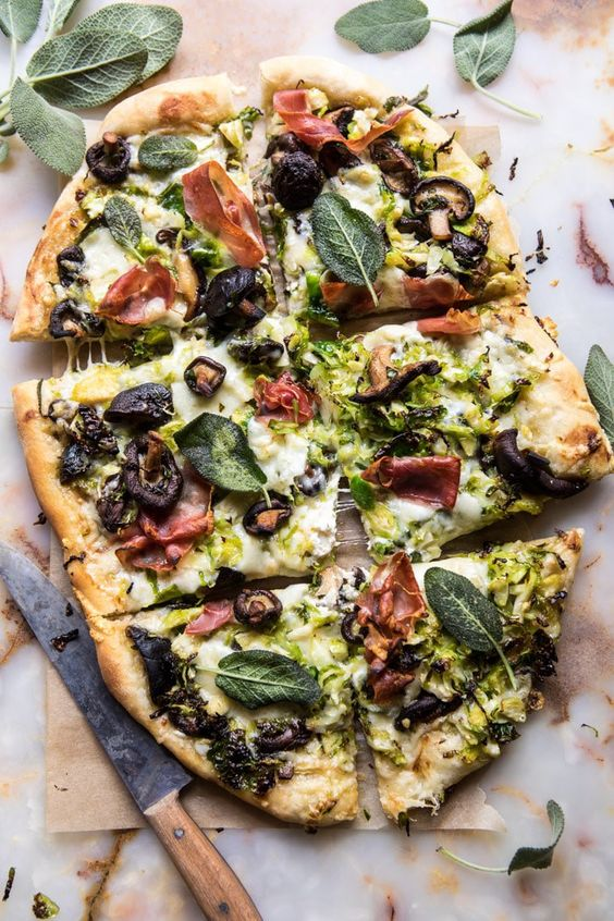 September seasonal vegetables   Brussels sprout mushroom pizza prosciutto sage recipe   Girlfriend is Better