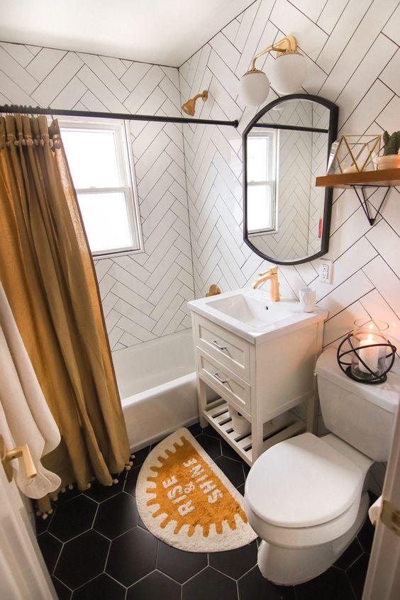 black floors | graphic tile herringbone hexagon patterns bathroom | Girlfriend is Better