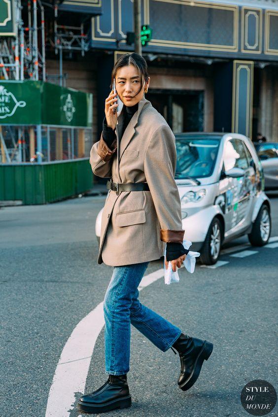 chunky black boots | 90s oversized belted blazer cropped denim turtleneck | Girlfriend is Better