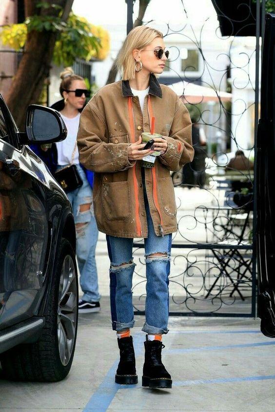chunky black boots | workman style oversized menswear jacket high-water cropped denim | Girlfriend is Better