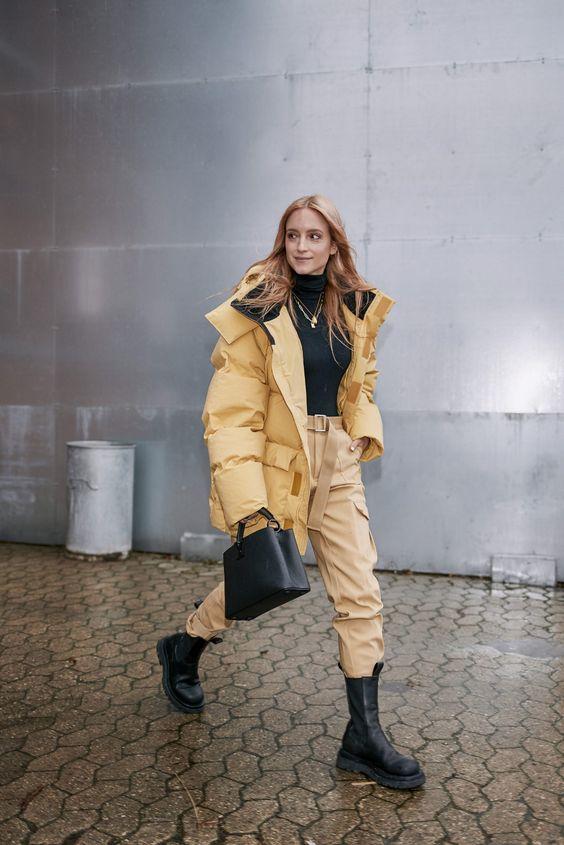 chunky black boots | military utilitarian cargo slacks oversized puffer coat turtleneck top handle purse | Girlfriend is Better