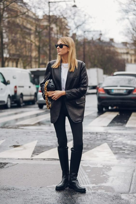 chunky black boots | moto rainboot knee-high oversized blazer street style | Girlfriend is Better