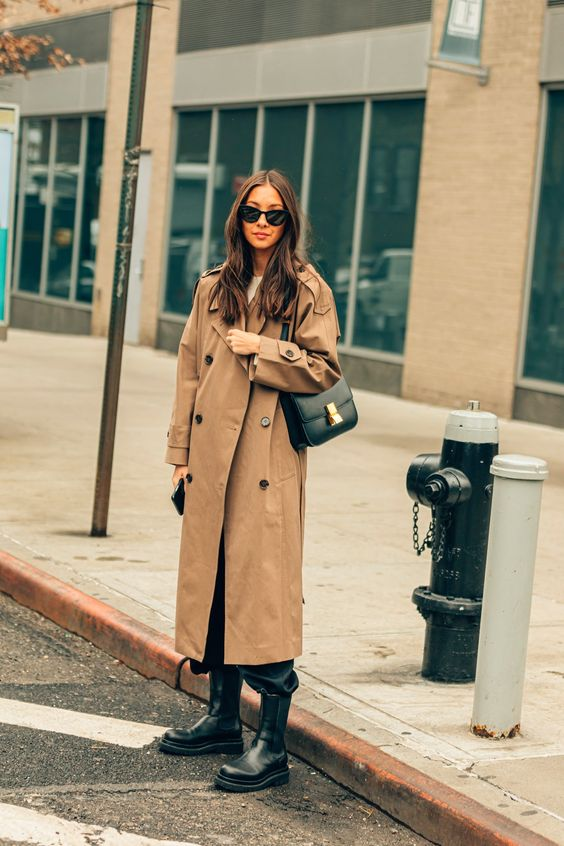 oversized trench coats   chunky black boots street style winter fashion   Girlfriend is Better