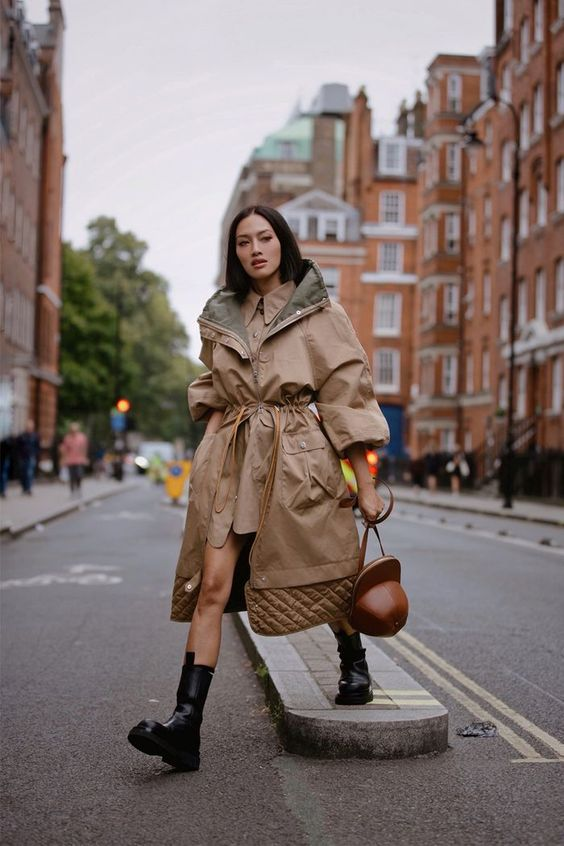oversized trench coats   belted adjustable length hooded neutrals chunky black boots   Girlfriend is Better