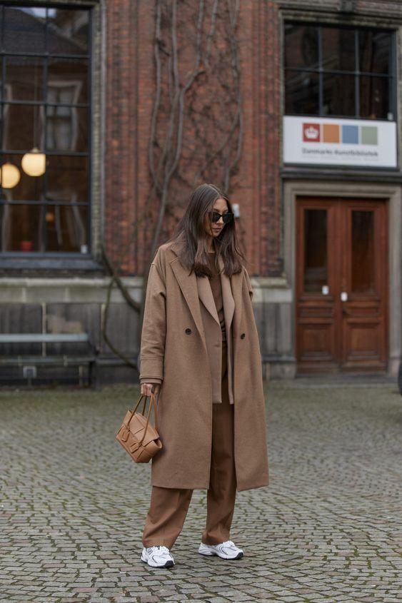 oversized trench coats   monochromatic double-breasted blazer menswear work wear tennis shoes   Girlfriend is Better
