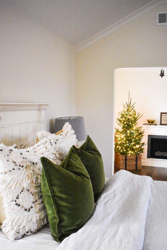 cozy Christmas | bedroom green velvet throw pillows macrame white | Girlfriend is Better