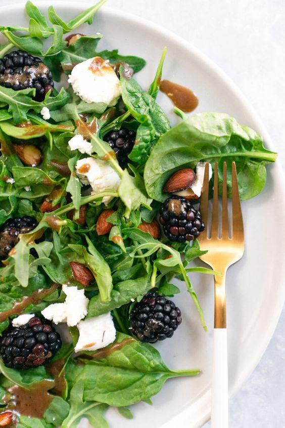 blackberry chèvre salad | spinach balsamic dressing | Girlfriend is Better