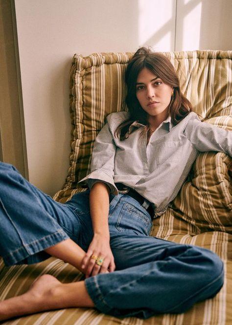 high-waisted jeans   comfortable denim cotton blouse   Girlfriend is Better