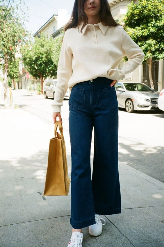 high-waisted jeans | top handle purse shopping outfit | Girlfriend is Better