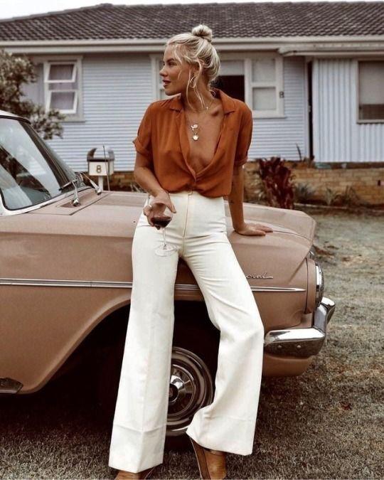 high-waisted jeans | white denim button down blouse work wear | Girlfriend is Better