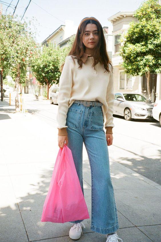 high-waisted jeans | flared leg vintage belt sweatshirt | Girlfriend is Better