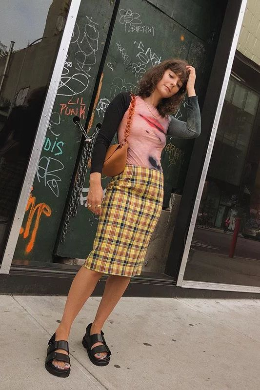 chunky sandals   summer outfit street style pencil skirt graphic tee   Girlfriend is Better