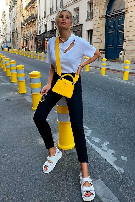 chunky sandals | Chanel white city outfit yellow top handle purse | Girlfriend is Better