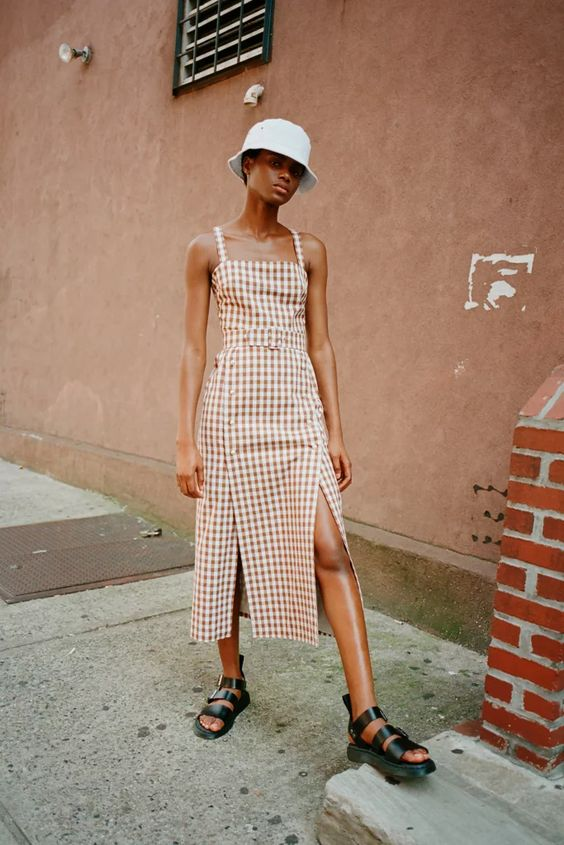 chunky sandals | Dr. Martens leather gladiator bucket hat gingham dress | Girlfriend is Better