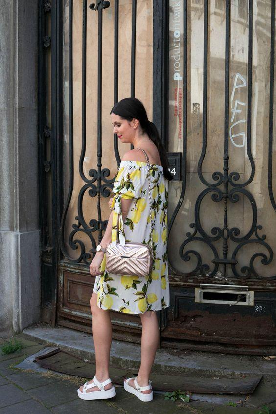 chunky sandals | lemon print voluminous dress off shoulder | Girlfriend is Better