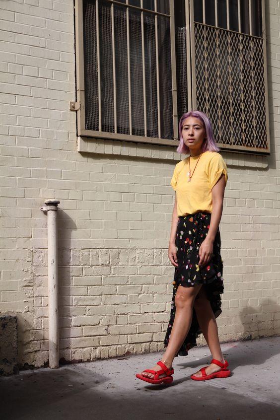 red chunky sandals | Teva asymmetrical hemline skirt yellow blouse | Girlfriend is Better