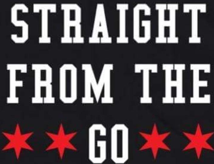 Straight from the Go Logo with black background white letters and red six point stars