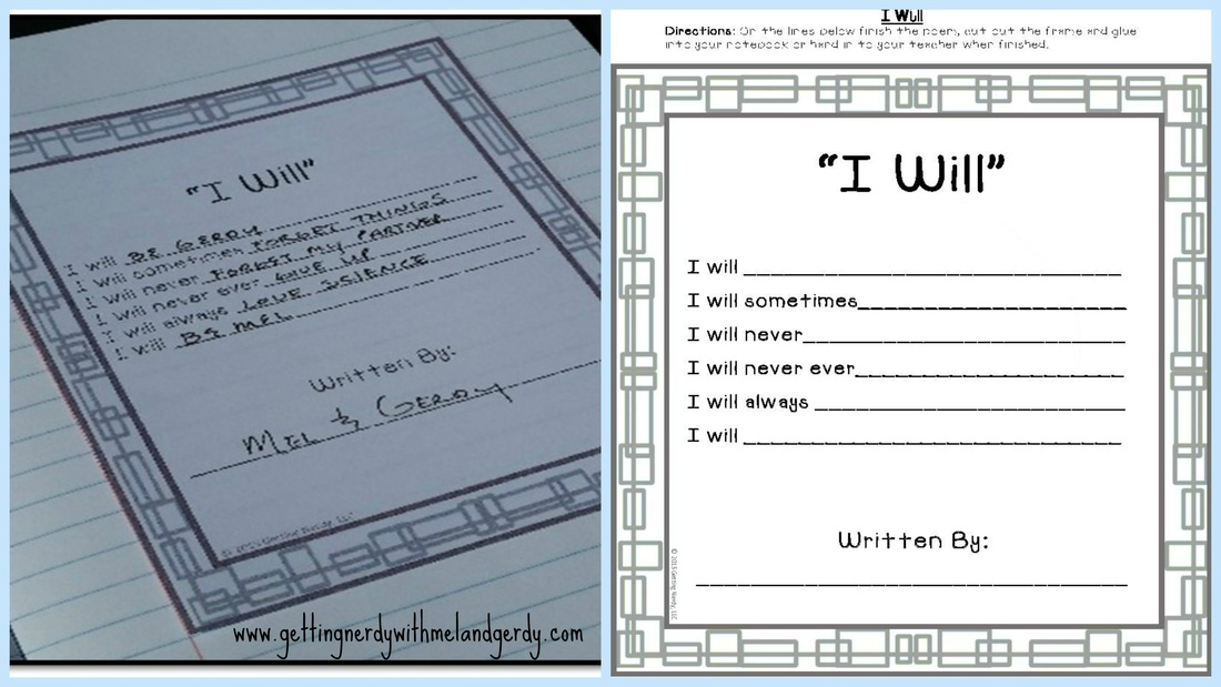 Blog post about ice breaker activities for back to school: An I Will poem helps you see student's expectations for the year