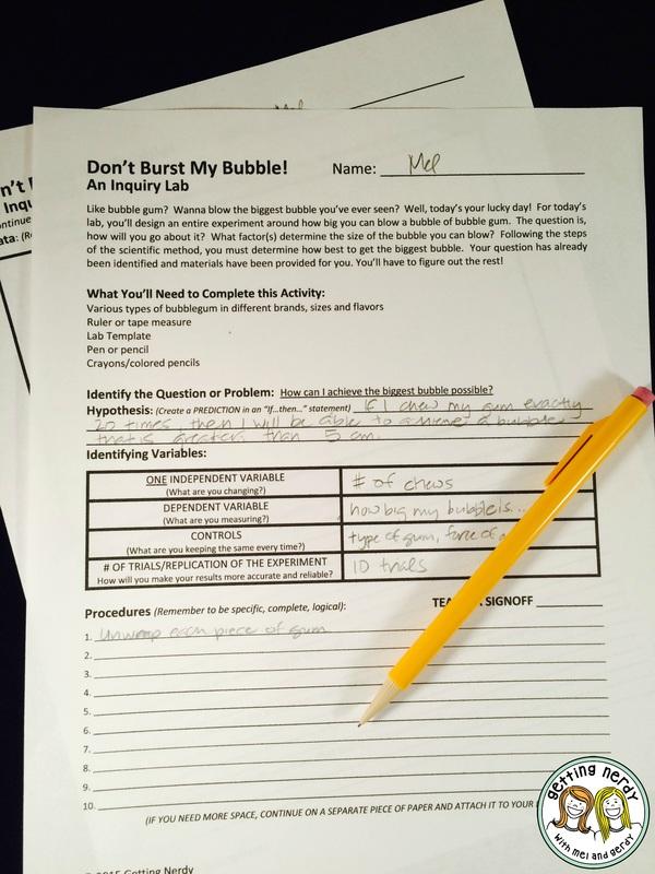 Teach variables with a bubblegum inquiry lab