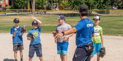 baseball camp skills session
