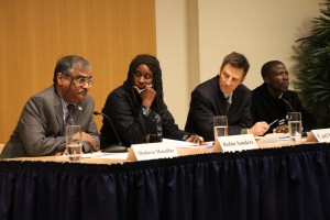Panel at the NED on March 26, 2014 with Shaheen Mozaffar, Amb. Robin Sanders, Carl LeVan, and Joseph Fashagba.