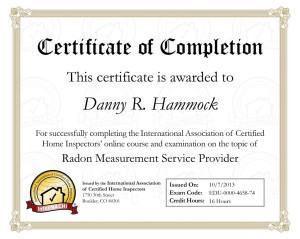 Radon Measurement Certification