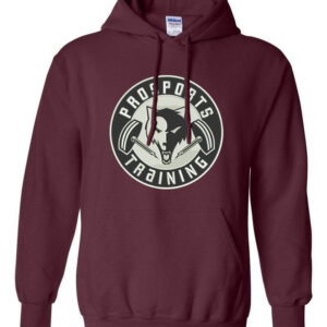 An image of a maroon Pro Sports Training hoodie