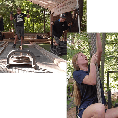 A collaged image of a two boys pushing and pulling weighted sleds, and an image of a girl climbing a rope