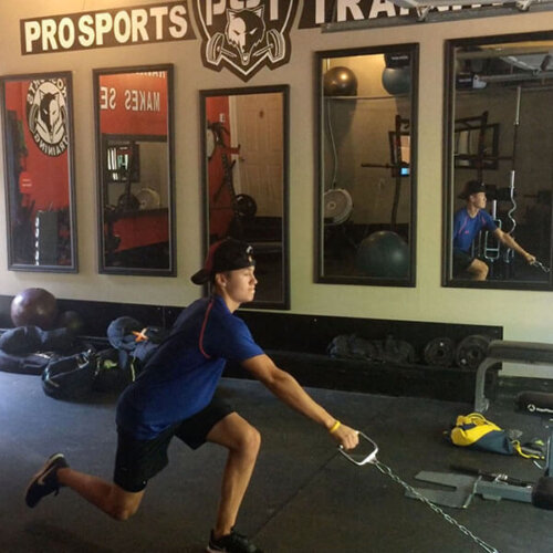 An image of an athlete doing a leg exercise in a home gym