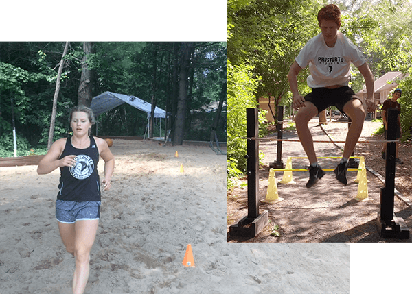 An image collage of a woman athlete and a boy athlete working out. The girl is running in a sand pit, and the boy is doing hurdle jumps