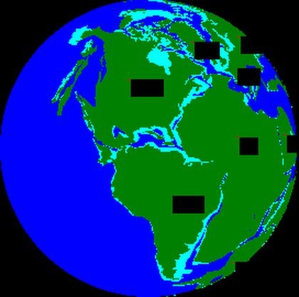 Figure 6. Reconstruction of Pangaea supercontinent, about 250 Ma