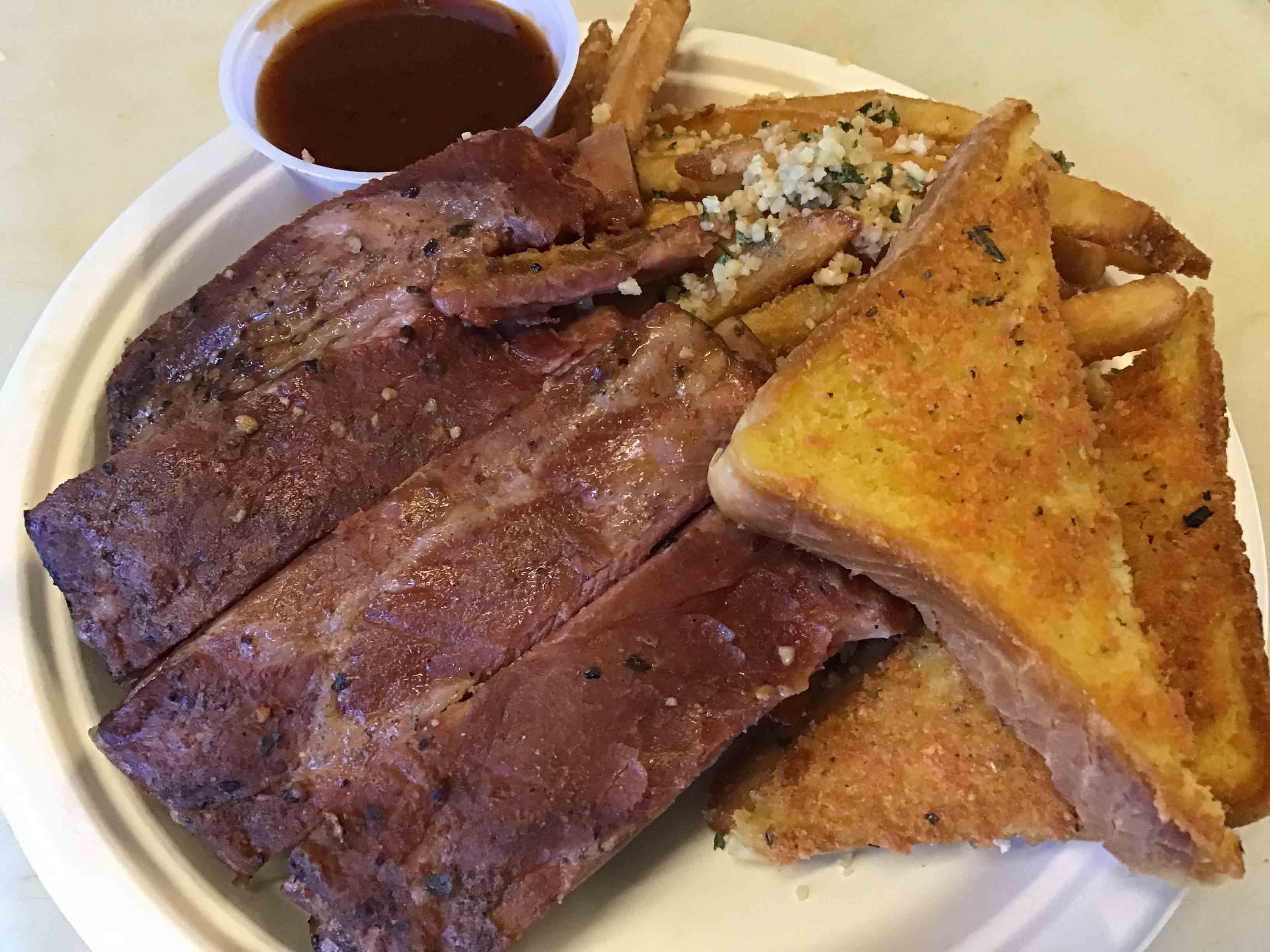 pork ribs garlic fries and toast bbq