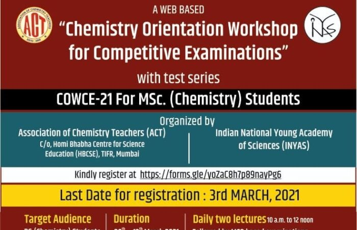 Chemistry Orientation Workshop for Competitive Examination (COWCE-21)