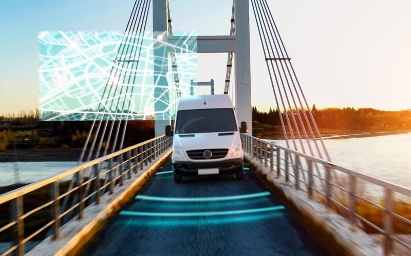 Autonomous transporter Car driving on a bridge highway with technology assistant tracking information, showing details. Visual effects concept