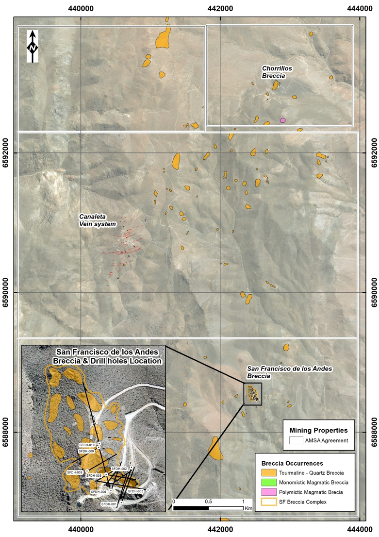 Figure 6: San Francisco tenements with main breccia locations. To date over 60 tourmaline breccias have been mapped in the project area, with large areas of the project area still to be covered by the current mapping and sampling program. Drilling at San Francisco de Los Andes has focused on the south-east corner of a composite breccia body.