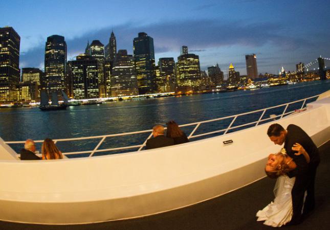 new york skyline sunset on yacht
