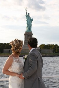 wedding by the statue of liberty