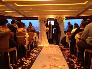 wedding ceremony aboard a yacht