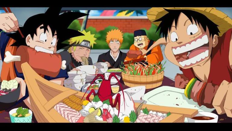 anime characters eating